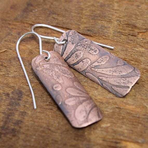 Copper Earrings Etched Leaf Pattern Rectangle Aged Patina Metalwork Mixed Metals Jewelry