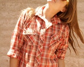 vintage 70s 80s SUPER thin soft sheer PLAID boyfriend shirt blouse