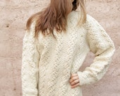 WOOL cable knit sweater SLOUCHY oversize 50s 60s thick warm cozy winter WEAR