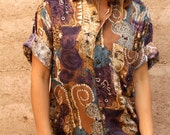 sheer BAROQUE 90s in living color SLOUCHY oversize floral grunge blouse shirt