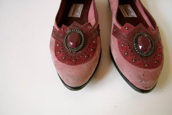 vintage 70s 80s ROSE rhinestone BELLINI JEWEL flats size 7 8