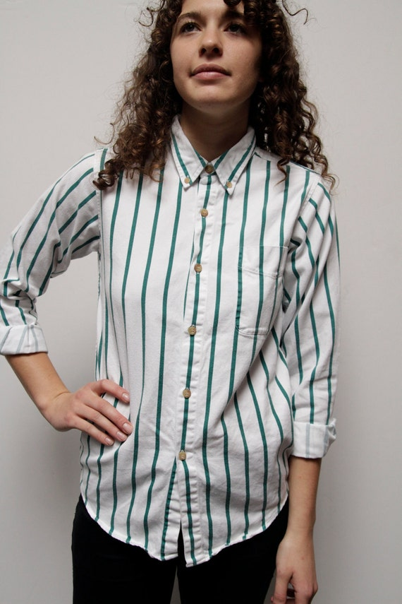 oxford STRIPED forest green & white VERTICAL 80s 90s spring button up