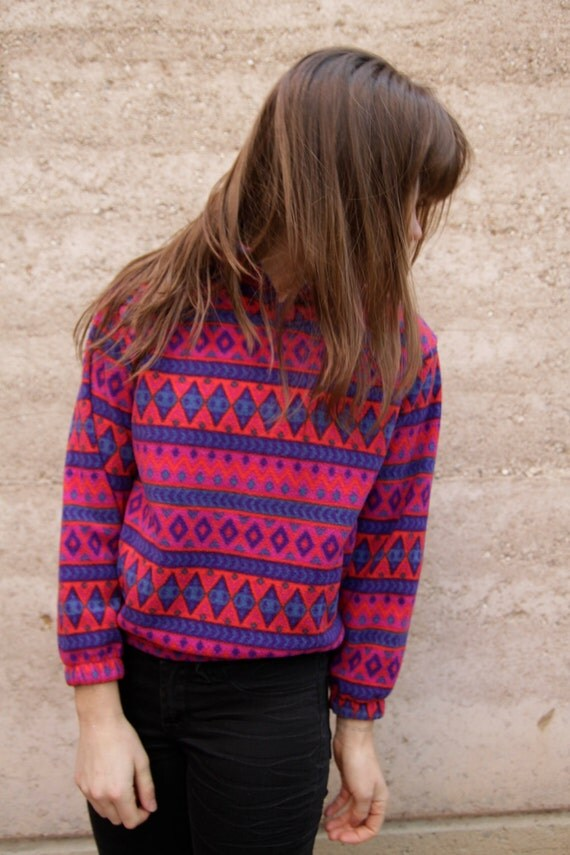90s bright IKAT grunge FLEECE southwest style sweatshirt jacket