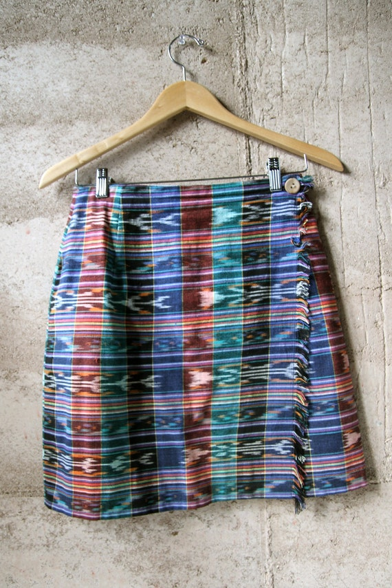 IKAT southwest 90s pencil SKIRT with wooden button closure