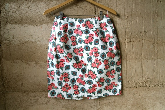 90s FLORAL skirt pencil BAROQUE small petite TWIN peaks cotton