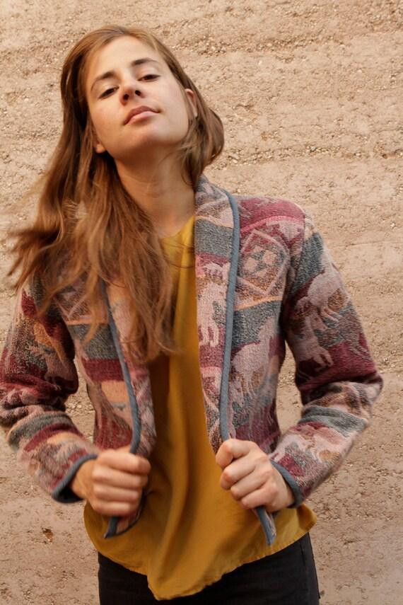 90s southwest wild HORSES jacket vintage coat CROPPED blazer vtg