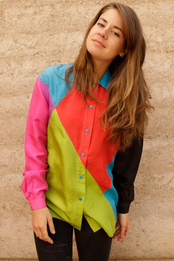 silk 90s COLOR BLOCK vintage TLC kriss kross button up shirt blouse
