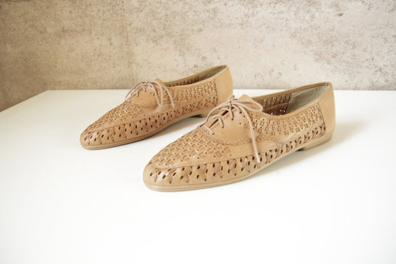 men's size 11 CARAMEL leather spring summer WOVEN flat lace up shoes