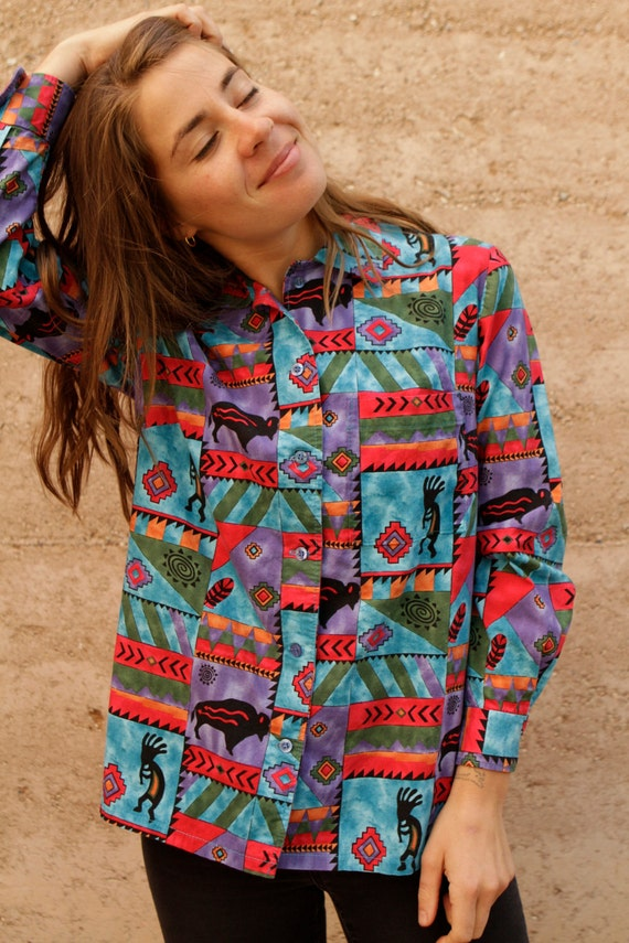 SOUTHWEST 90s bright wild IKAT style button down shirt blouse
