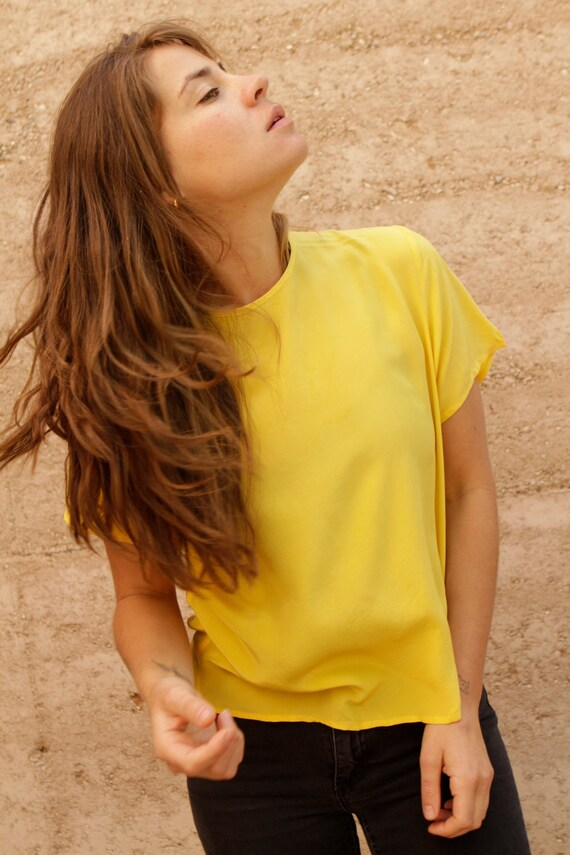 SILK 90s SHEER OVERSIZE slouchy boxy yellow blouse