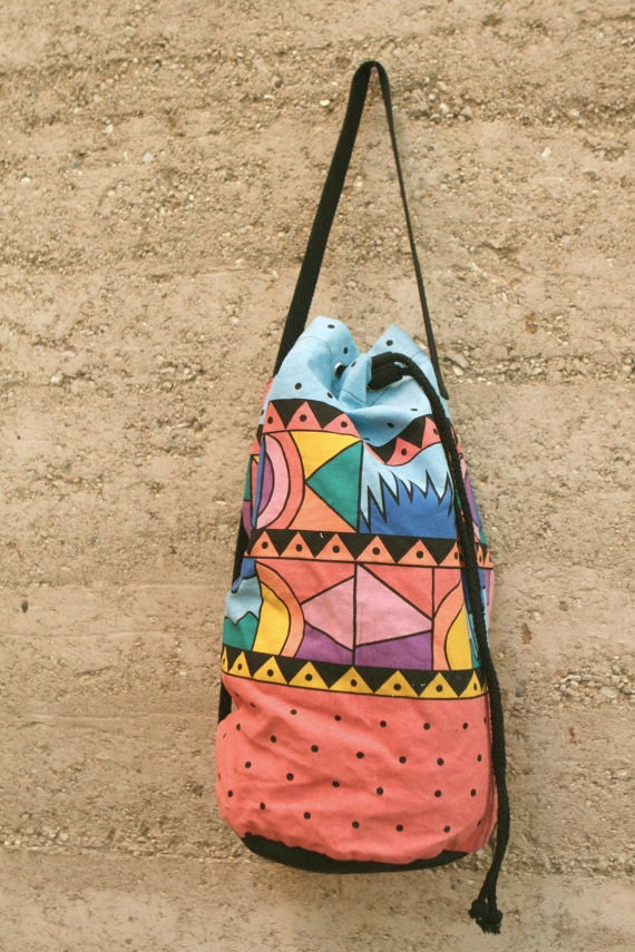 bright 90s SOUTHWEST satchel tote ABSTRACT wild art bag