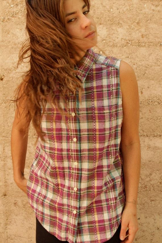 PLAID sleeveless COLLAR tank top button up shirt