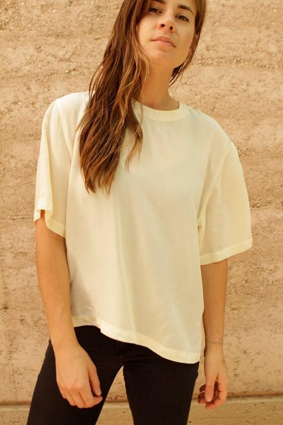 SILK slouchy 90s OVERSIZE cream blouse top