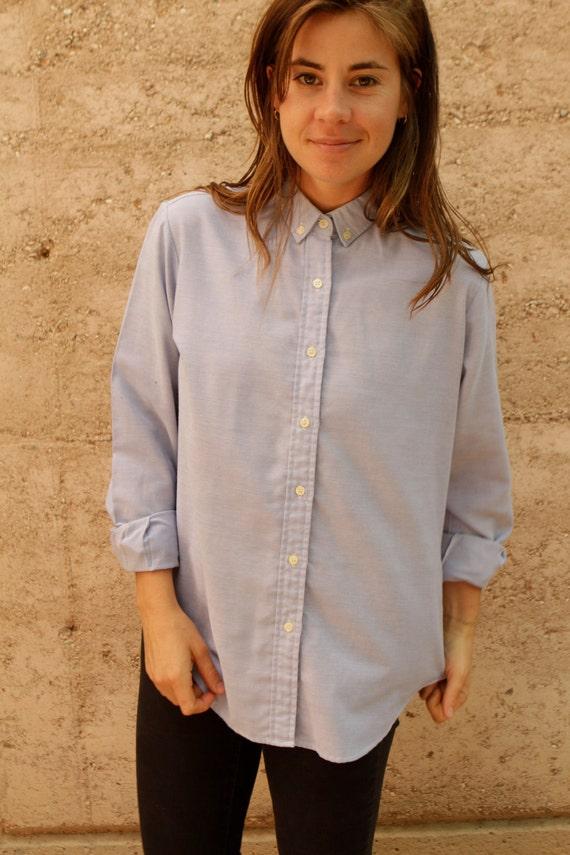Chambray oxford light BLUE vintage 80s 90s  denim TWIN PEAKS leo shirt