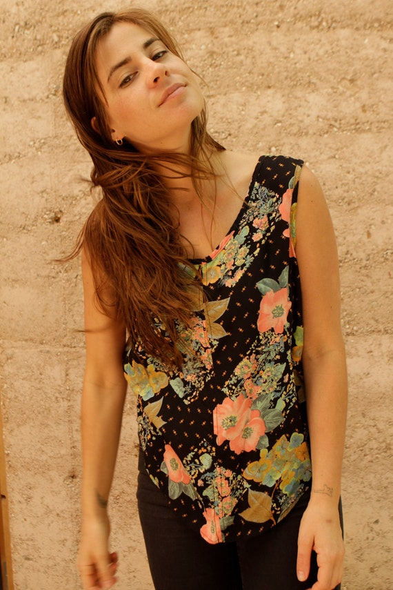 90s floral TWIN peaks slouchy oversize TANK top