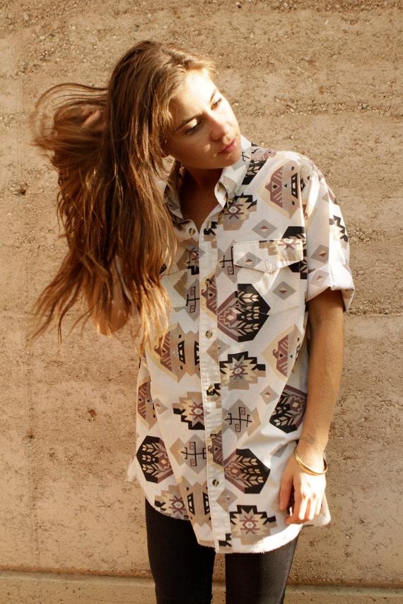 vintage 80s 90s BRIGHT southwest DESERT IKAT style button up blouse