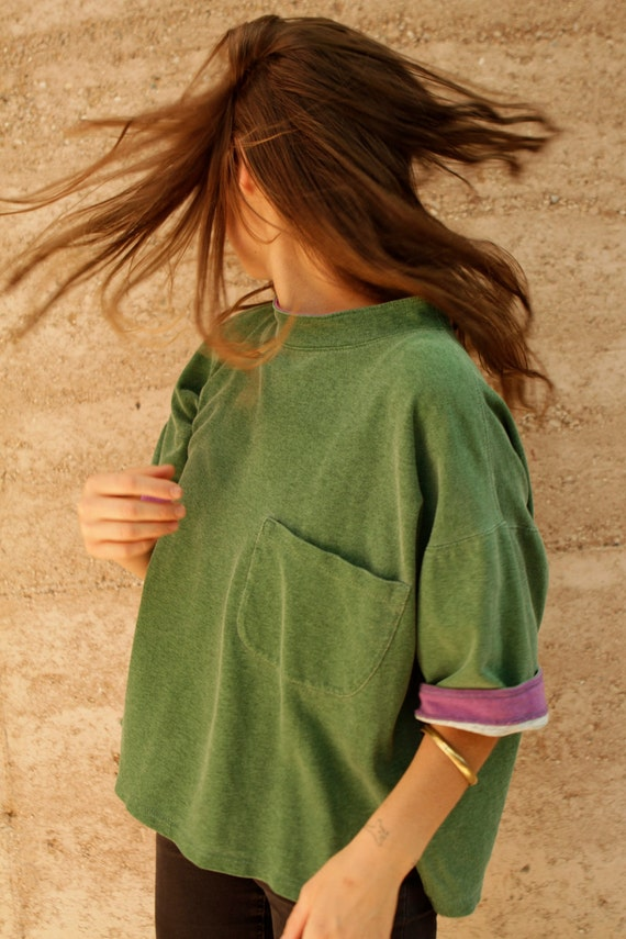 90s boxy HUNTER green & purple SLOUCHY twin peaks cropped t shirt top