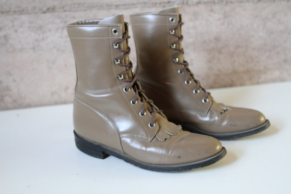 womens size 8 9 tan LEATHER combat JUSTIN GRUNGE fringe boots