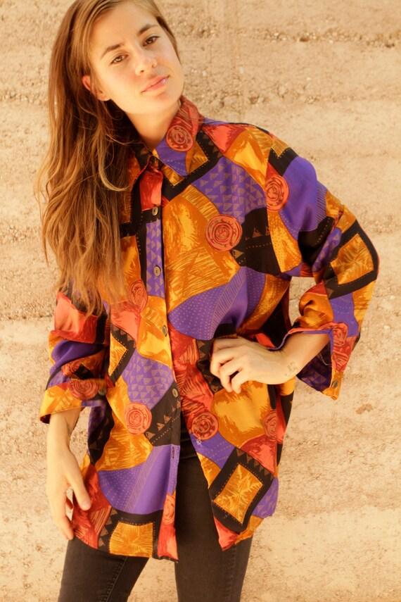 bright 90s SOUTHWEST sheer desert SLOUCHY long sleeve blouse
