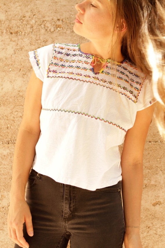 PEASANT shirt vintage 60s 70s psychedelic embroidered BOHO top