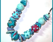 Aqua Chunky Large Bead Necklace Polymer Clay 18 inches Handcrafted Polymer Panache