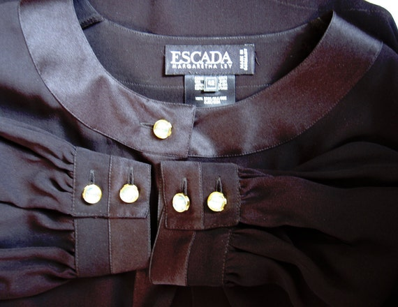 Vintage ESCADA by Margaretha Ley Sheer Black Silk Blouse. Gorgeous. Made in Germany. 42. EC.
