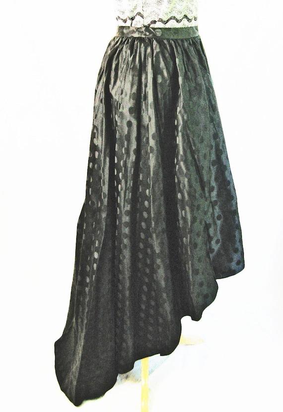 High Low Scooped Hemline Long Black Evening Skirt. 1980s Vintage. BONWIT TELLER.