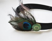 Peacock Feather Headband with Button