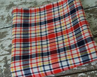 Plaid Burlap Jute Vintage Fabric 47x60 inches