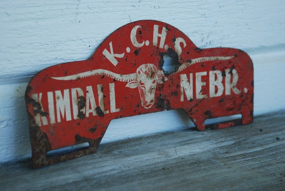 Antique Rusty Metal Sign K.C.H.S. Kimball Nebraska Steer Head