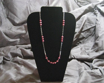 Deep red garnet and faceted pearl necklace