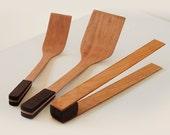 SET OF THREE, CHERRY Organic, Sustainable, Eco-Friendly Wood Tongs, Mini Spatula and Large Spatula