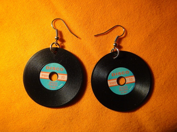 VINTAGE American miniature RECORD / VINYL charm earrings (pair) with Sterling Silver Plated Earring hooks
