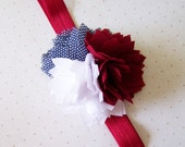 Womens Fabric Flower Red White Navy 4th of July Headband on Fold Over Elastic