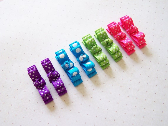 Baby/Children/Girls Layered Mini Bows - Rainbow Polka Dot No Slip Clip