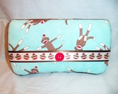 LAST ONE- Custom Covered Baby Wipe Case- Sock Monkey Print