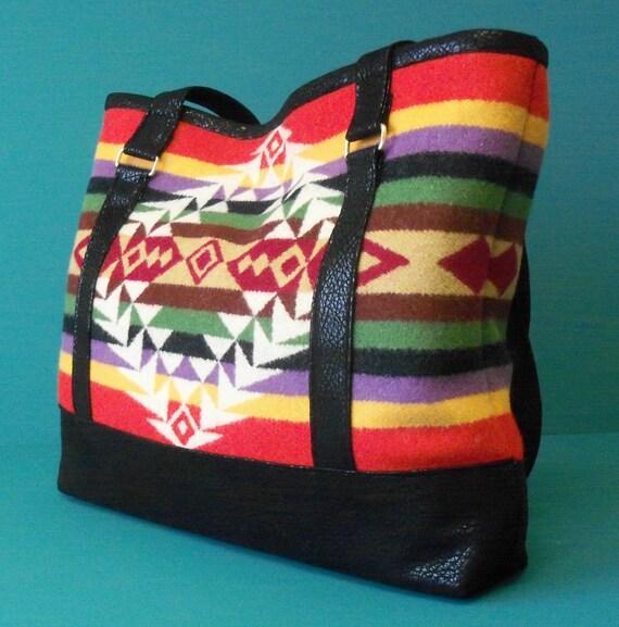 PENDLETON Wool NATIVE AMERICAN Design Tote-Style Handbag