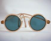 Round Antique Sunglasses with Translucent Plastic Frames, Vintage 1930s