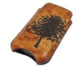Slim Cell Phone Leather Sleeve - Autumn Tree