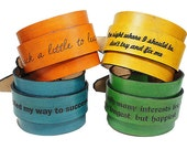 Personalized Leather Cuff - Mens Leather Bracelet - Womens Cuff - Engraved Leather Bracelet