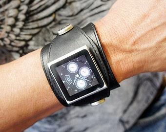 Ipod Nano Leather Watchband - Black