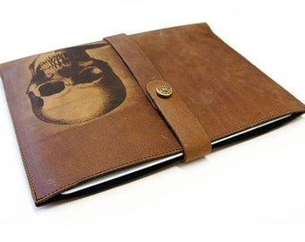 iPad Distressed Leather Sleeve - Skull