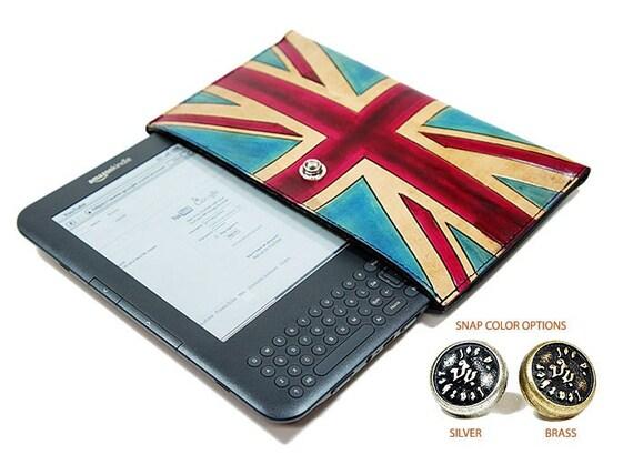 Union Jack Leather Sleeve for Nook - Kindle - Galaxy Tab - eReaders