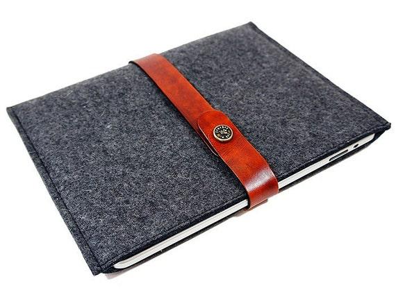 Designer Apple iPad Felt Sleeve - Charcoal Gray