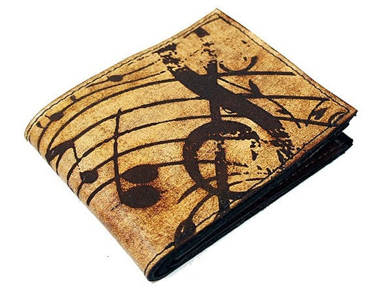 Slim Bi-Fold Leather Wallet - Music and Me