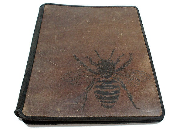 Ipad 2 Leather Book Cover Case - Busy Bee