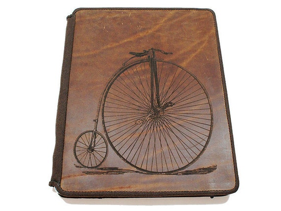 Ipad 2 Leather Book Cover Case - Vintage Bicycle