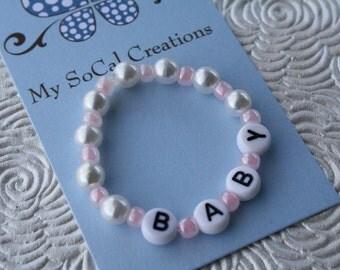 Custom Glass Pearl Baby/Children's Personalized ID Bracelet/Keepsake Jewelry