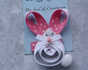 Itty Bitty Bunny-Ribbon Sculpture Hair Clip- Baby Snap Clip or Alligator Clip-Easter Hair Clip