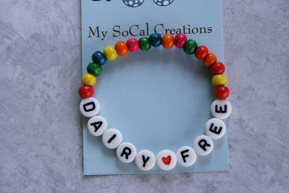 Medical Alert/Food Allergy/Medication Allergy Personalized ID Bracelet Childrens Adult/Wood Beads/Czech Glass Beads